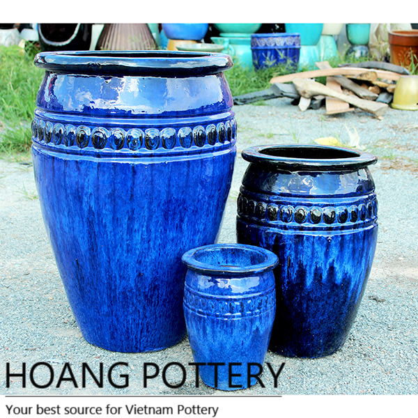 Aqua Blue Ceramic Glazed Outdoor Tall Planters