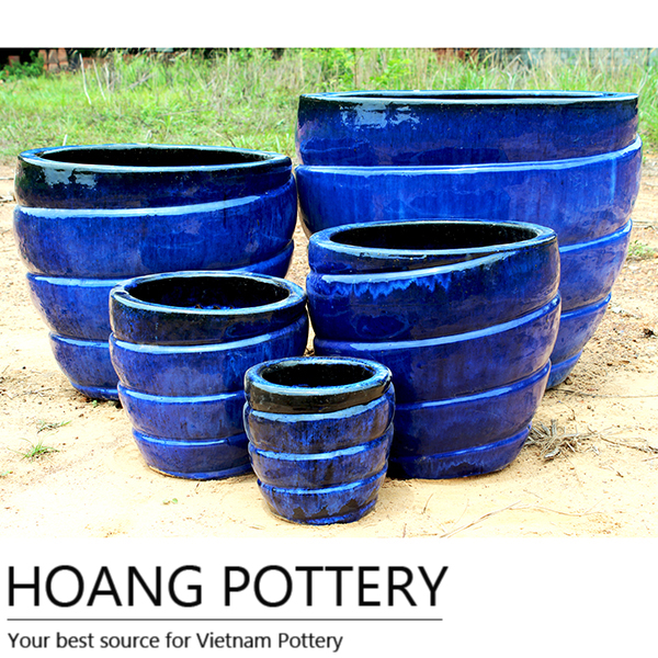 Blue Modern Glazed Ceramic Planters