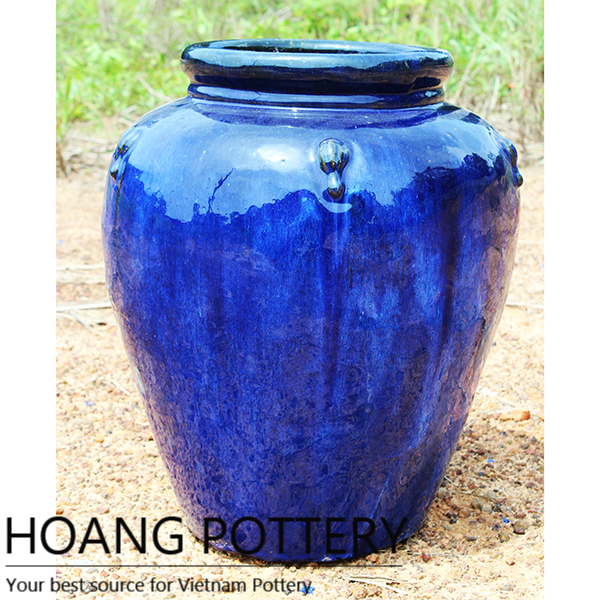 Beautiful Aqua Blue Round Ceramic Glazed Flower Pots Outdoor