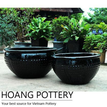 Black Ceramic Pots with Diamond Design (HPDB023)