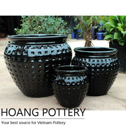 Black Round Ceramic Glazed Planter Garden (HPDB008)