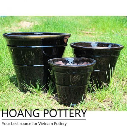 Rings Pattern Flower Pot (HPVN003)