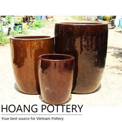 Tall Round Ceramic Brown Glazed Pots (HPAN058)