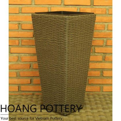 Tall Square Wicker Flower Planter (HPW062)