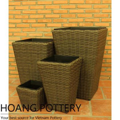 Tall Wicker Flower Pot (HPW064)