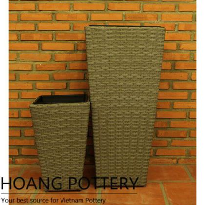 Tall Wicker Planter Indoor and Outdoor Decor (HPW067)