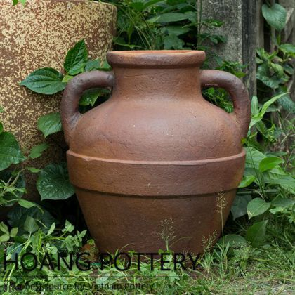 Antique Design Black Clay Urn Planter Decor (HPHP107)