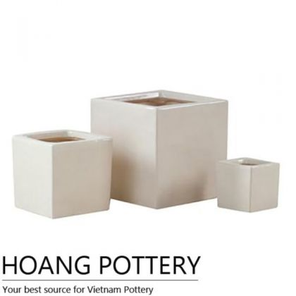 Carved Cube Glazed Ceramic Bonsai Pots (HPIP039)