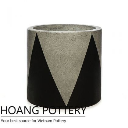 Cylinder Cement Painting Pots - Crown Pattern