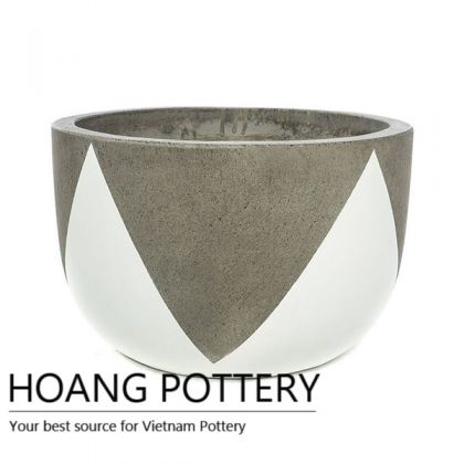 Short Round Cement Painting Pots - Crown Pattern (HPPC010)