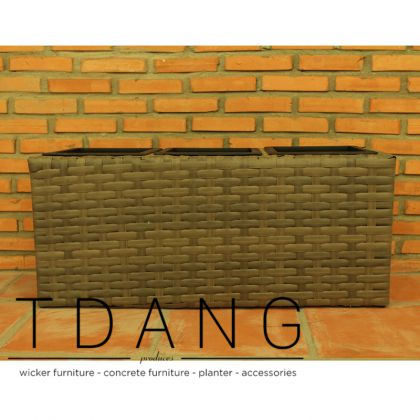 Low Brown Square Flat Wicker Trough (TDW002)