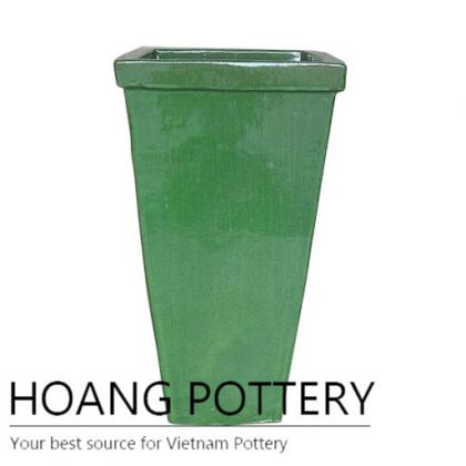 Glass green tall square ring ceramic pot