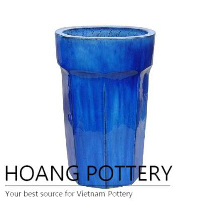 Hexagon bottom blue tall round ceramic pot