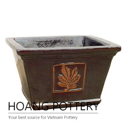 Low round leaf pattern ceramic garden pot