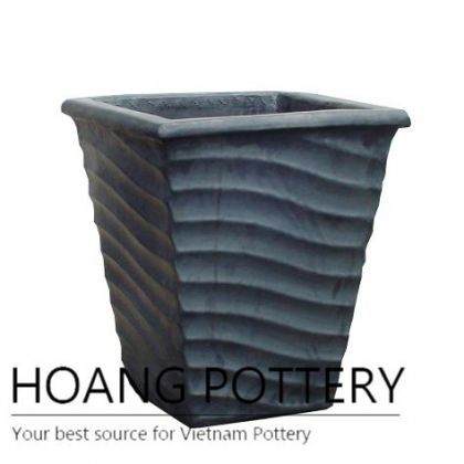 Matt black wave square ceramic planter