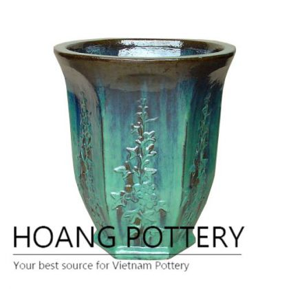 Mix green glass pattern ceramic pot
