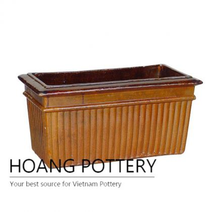 Rectangular brown line outdoor ceramic pot