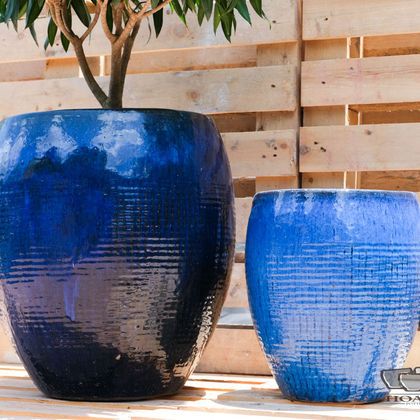 Outdoor blue ceramic pot