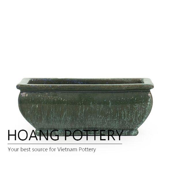 Green Ceramic Trough Planter Pot