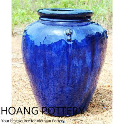 Aqua Blue Round Glazed Ceramic Pots Outdoor (HPTH005)