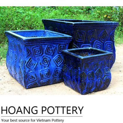 Blue Square Glazed Ceramic Pots (HPTV033)