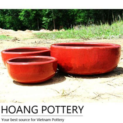 Red Low Ceramic Flower Pots