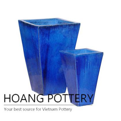 Blue Tall Square Ceramic Garden Pot